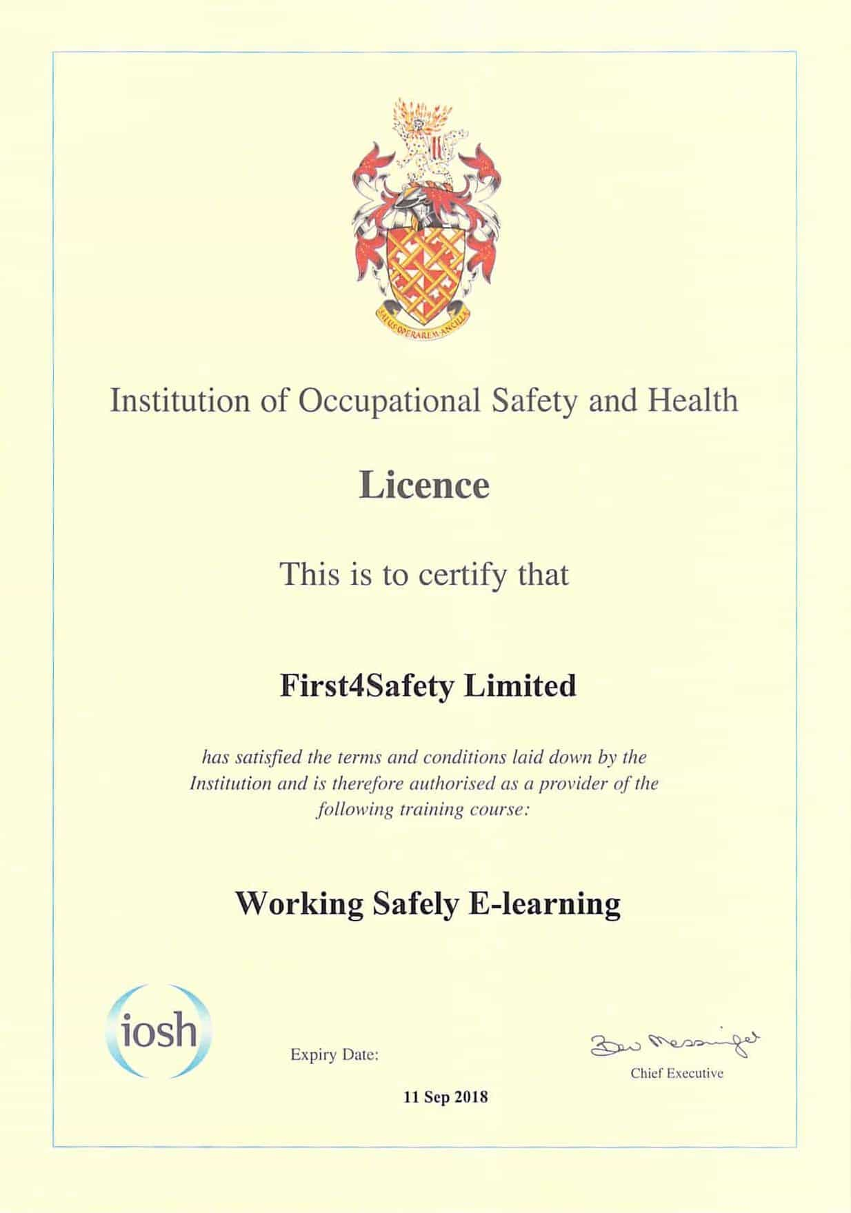 iosh managing safely coursework examples