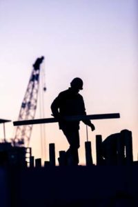 silhouette of construction worker