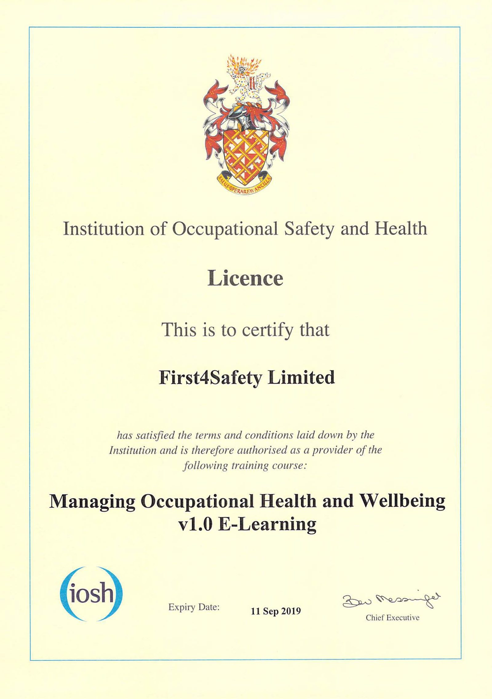Occupational Health and Wellbeing