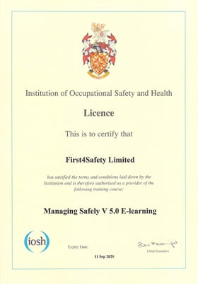IOSH Managing Safely Online Certificate