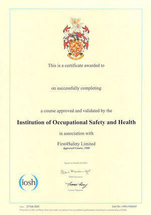 IOSH safety for executives and directors certificate